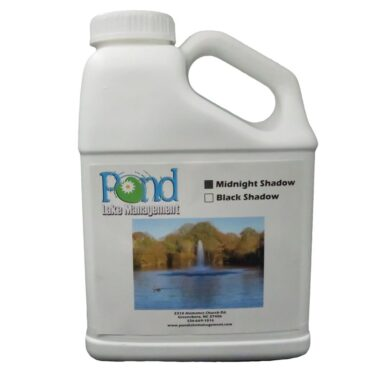 Midnight Shadow Black pond dye tints the water a pleasing dark color, beautifying cloudy water. For use in lakes, ponds and decorative water features with little or no outflow.