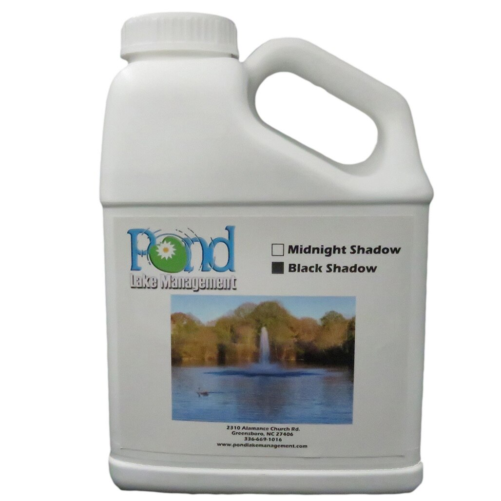 Black Shadow pond dye tints the water a pleasing dark color, beautifying cloudy water. For use in lakes, ponds and decorative water features with little or no outflow.