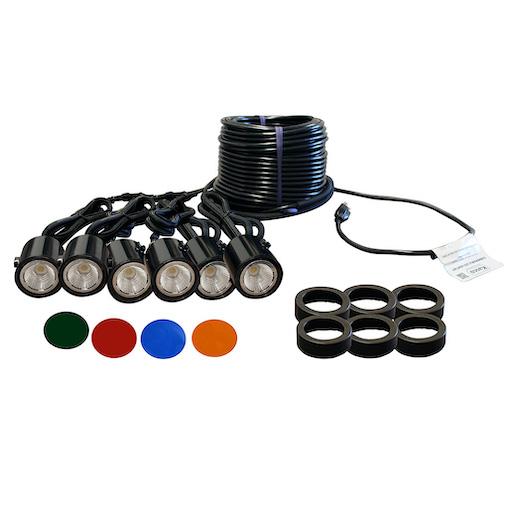 Composite LED six light fountain lighting kit