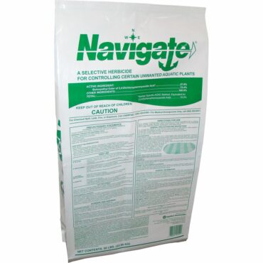 Navigate is formulated on special heat treated attaclay granules that resist rapid decomposition in water, sink quickly to lake or pond bottoms and release the weed killing active ingredient into the critical root zone area.